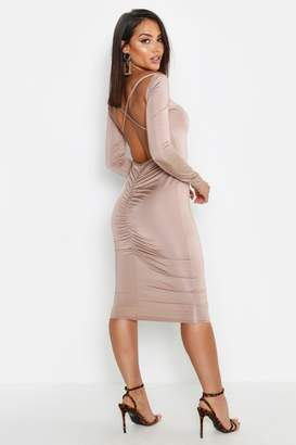 boohoo Slinky Cross Back Ruched Detail Midi Dress