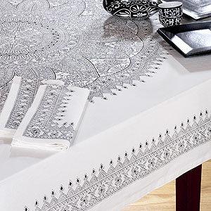 World Market Black & White Medallion Tablecloth