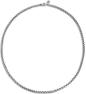 John Hardy Men's Classic Chain Silver 3.7mm Box Chain Necklace with Figurative Naga Lobster Clasp, 26""