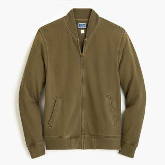 J.Crew French terry bomber jacket in green