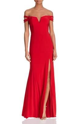 Aqua Double-Strap Off-the-Shoulder Gown - 100% Exclusive