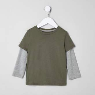 River Island Mini boys khaki green double layer T-shirt