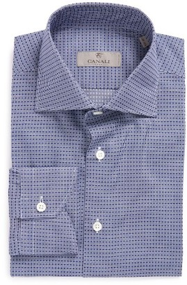Men's Canali Trim Fit Check Dress Shirt $265 thestylecure.com