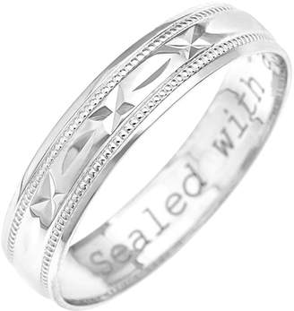 Love GOLD 9ct White Gold Diamond Cut 4mm Wedding Band With Message 'Sealed With A Kiss'