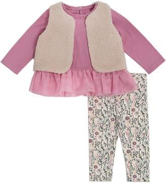 Chick Pea Baby Girl's 3-Piece Faux Fur Vest, Cotton-Blend Top Printed Pants Set