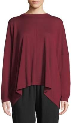 eskandar Round-Neck 3/4-Sleeve Wide Fine-Cashmere Sweater