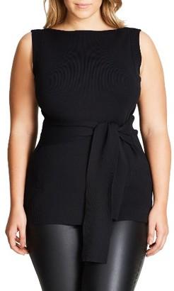 Plus Size Women's City Chic Tie Waist Knit Top $69 thestylecure.com