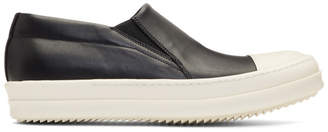 Rick Owens Black and Off-White Boat Slip-On Sneakers