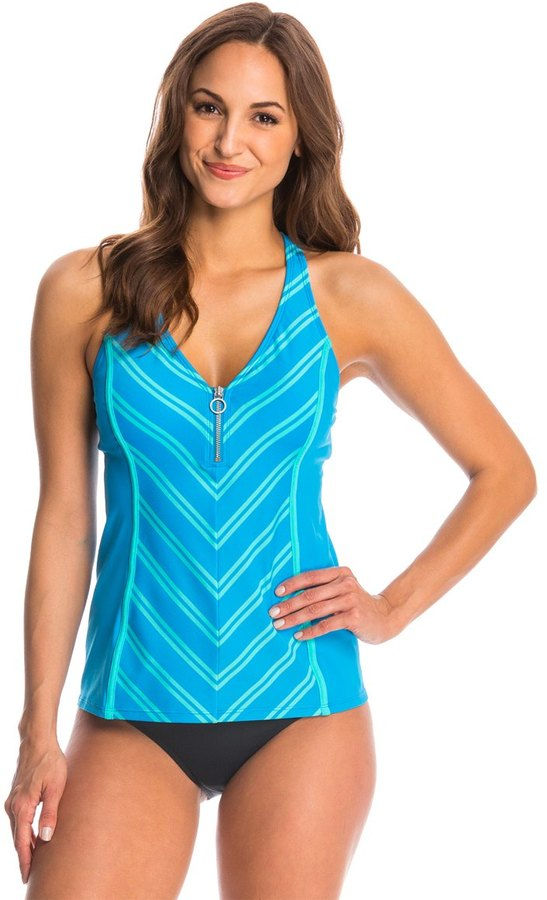 Beach House Cape Cod Racerback Zip Front Tankini Top 8138646