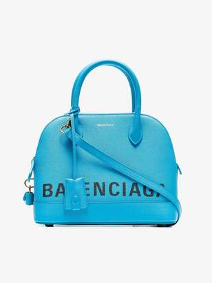 Balenciaga blue Ville logo leather bowling bag