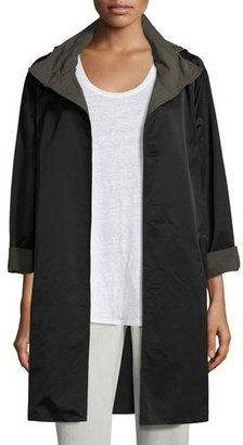 Eileen Fisher Reversible Nylon Sheen Coat, Black/Surplus, Petite $358 thestylecure.com