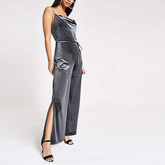 River Island Womens Grey velvet cowl neck wide leg jumpsuit
