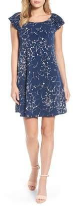 Cynthia Steffe CeCe by PUFFED S/S DITSY SWIRLS DRESS