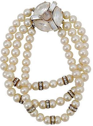 One Kings Lane Vintage Pearl & Rhinestone Bracelet - N.P.Trent Antiques