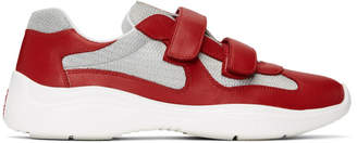 Prada Red and Silver Leather Velcro Sneakers