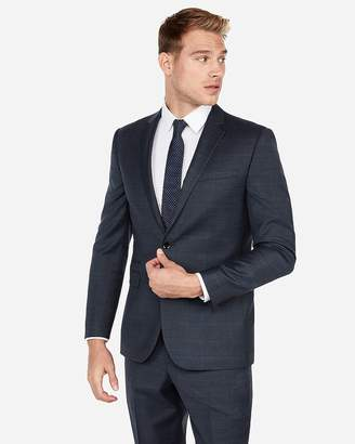 Express Slim Windowpane Plaid Wool-Blend Suit Jacket