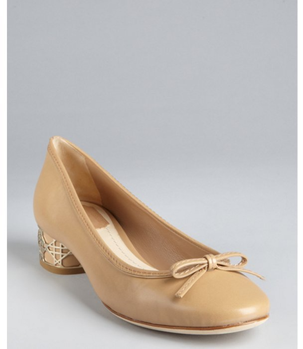 Christian Dior nude leather round cannage heel ballerina pumps