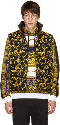 Versace Black and Gold Down Brocade Puffer Vest