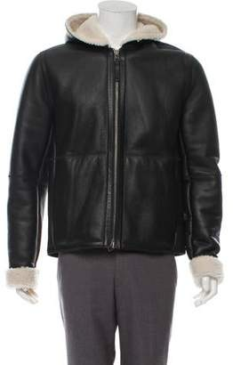 Vince Leather Hooded Shearling Coat