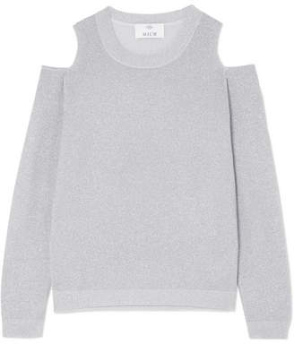 Allude Cold-shoulder Metallic Wool And Cashmere-blend Sweater - Light gray