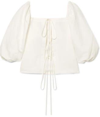 Cult Gaia Aurel Lace-up Cotton And Linen-blend Blouse - White