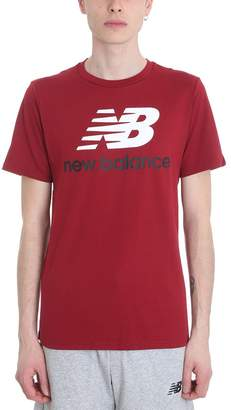 New Balance Essential Stacked Bordeaux Cotton T-shirt