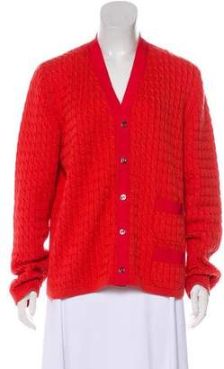 Salvatore Ferragamo Cable Knit Wool Cardigan