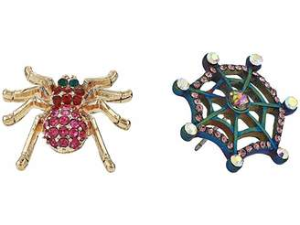 Betsey Johnson Spider Stud Non-Matching Earrings