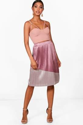 boohoo Colour Block Pleated Satin Midi Skirt