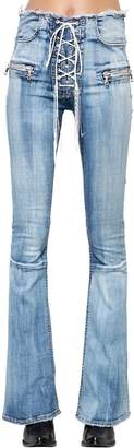 Unravel Tie Dyed Flare Lace-Up Denim Jeans