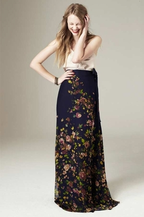 Paper Crown Twain Maxi Skirt in Navy Garden Bloom