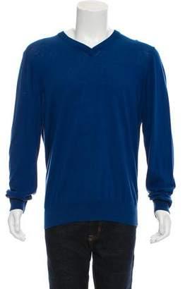 Thomas Pink Rib Knit V-Neck Sweater