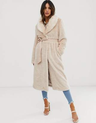 Asos Design Plush Faux Fur Maxi Coat with Belt