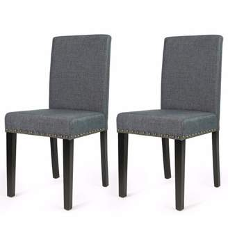 XtremepowerUS 2PC Elegant Stylish Nail Head Fabric Dining Chair, Grey