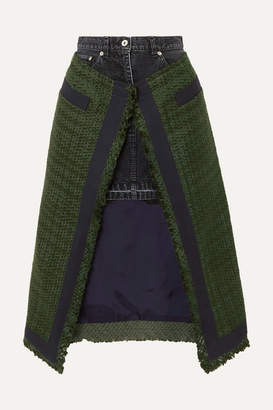 Sacai Paneled Asymmetric Canvas-trimmed Tweed And Denim Skirt - Army green