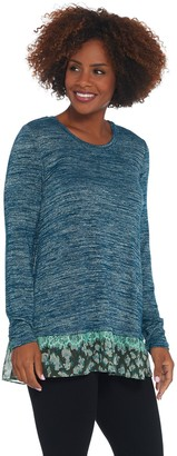 Logo By Lori Goldstein LOGO by Lori Goldstein Space Dye Sweater Knit Top with Tier