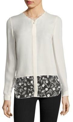 Elie Tahari Constance Appliqued Silk Blouse $368 thestylecure.com