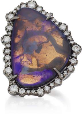Kimberly McDonald Rhodium-Plated 18K White Gold Opal And Diamond Ring
