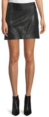 Frame Double-Zip A-Line Leather Mini Skirt