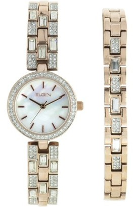 Elgin Women's Round MOP Dial Analog Watch and Bracelet Set, Gold and Crystal Pattern Bracelet