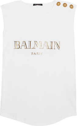 Balmain - Button-embellished Printed Cotton-jersey Top - White $250 thestylecure.com