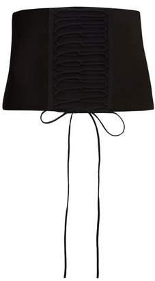 Tibi - Wide Corset Detail Ribbed Jersey Waist Belt - Womens - Black