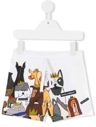 Dolce & Gabbana dog print track shorts