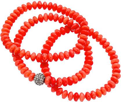 Krystal Sasso Coral Bead Bracelet Set