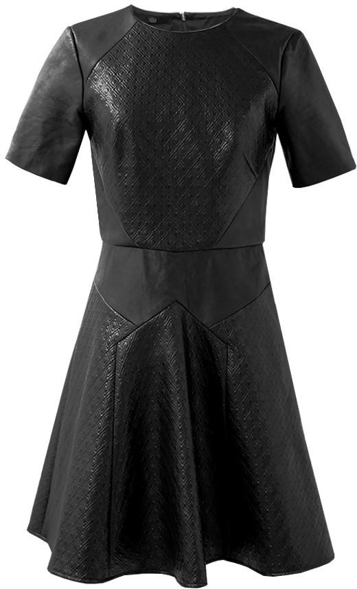 Tibi Diamond Quilting Leather Dress