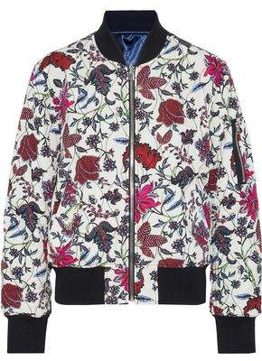 Diane von Furstenberg Floral-Print Faille Bomber Jacket