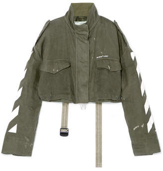 Off-White Cropped Printed Linen Jacket - Army green