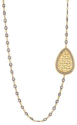 Freida Rothman 14K Gold & Rhodium Plated CZ Lattice Motif Teardrop Trellis Necklace