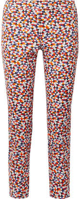 Akris Frances Cropped Printed Cotton-blend Slim-leg Pants