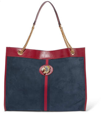 Gucci Rajah Large Patent Leather-trimmed Suede Tote - Blue
